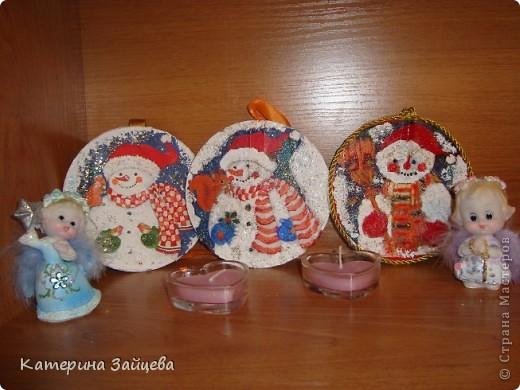 Увидела у одной из мастериц сайта новогодние пано из CD дисков,очень понравилась идея!!!вот что получилось!! фото 3