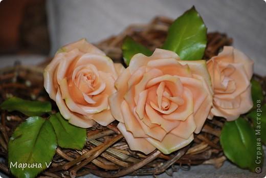 """Розы сделаны из само варенного холодного фарфора, ромашка -- из глины """"хаирти софт""""  фото 1"""