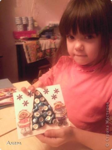 До Нового года рукой подать. И мы с моей ученицей Машей Мавлиевой начали усиленно готовиться к празднику. Вот такая открытка-малышка у нас получилась.  фото 2