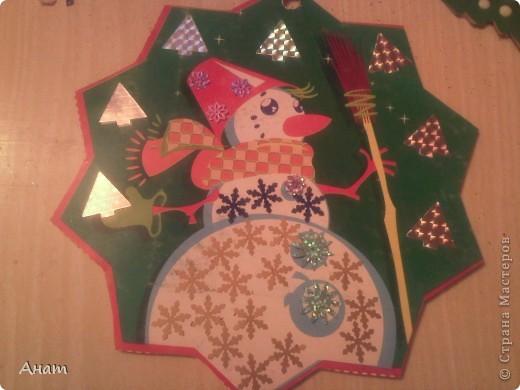 До Нового года рукой подать. И мы с моей ученицей Машей Мавлиевой начали усиленно готовиться к празднику. Вот такая открытка-малышка у нас получилась.  фото 6