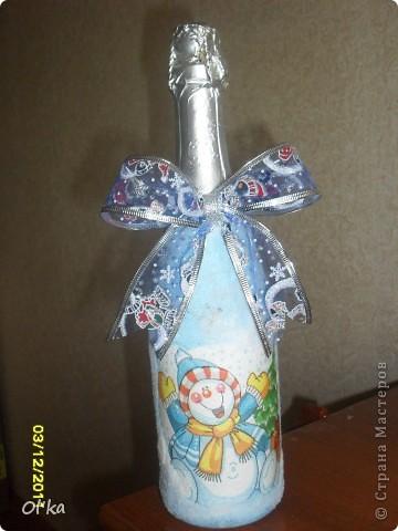 Всем здраствуйте! Выставляю на Ваш суд серию новеньких Новогодних бутылочек. фото 4