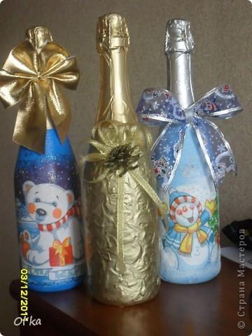 Всем здраствуйте! Выставляю на Ваш суд серию новеньких Новогодних бутылочек. фото 1