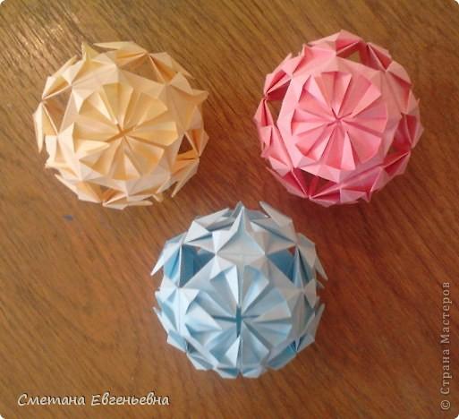 """Мои первые работы в технике оригами.  Кусудама """"Ноготки"""" фото 3"""