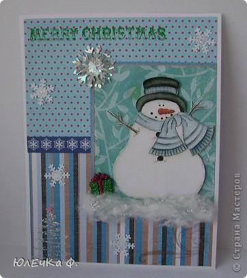 А я всё готовлюсь к Новому году :) Очередная открытка, но на этот раз со снеговиком. Хочу поучаствовать с ней в задании от АртУголка http://blog.artugolok.ru/2011/12/46.html фото 1