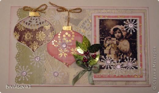 новогодняя открыточка в подарок. добавила блеска веточкой из  пайеток и маленьких бусин. фото 1