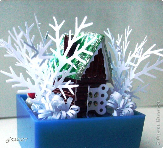 Поделка изделие Новый год Квиллинг Новогодний домик Бумага фото 2