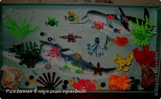 Много в Стране мастеров работ видела на тему морского дна, и захотелось тоже что-то наподобие сделать. По знаку зодиака я рыба, поэтому водная стихия мне близка) фото 1