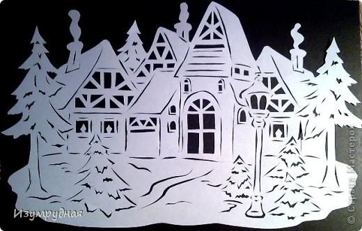 Картина панно рисунок Новый год Вырезание Зимнее настроение Бумага фото 1.