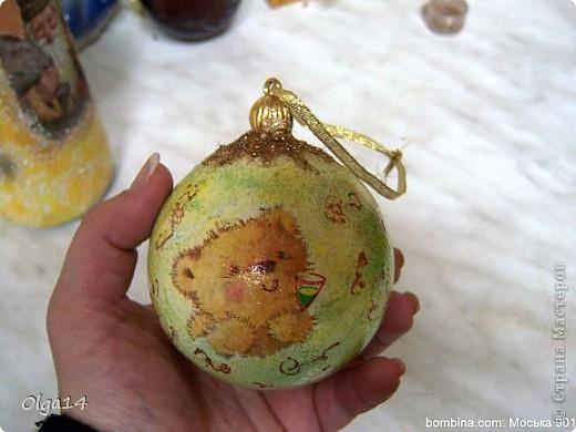 первый новогодний шар( не очень удачный)  фото 4