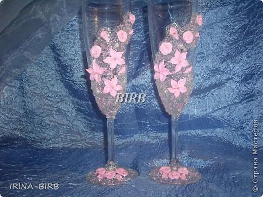 Розовые бокалы (попросили сделать такие..) фото 1