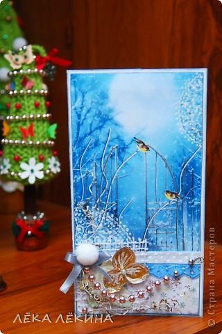 Вот такая получилась открыточка. Хотелось передать ощущение морозного вечера, искристого снега... фото 2