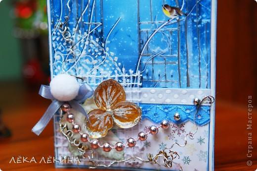 Вот такая получилась открыточка. Хотелось передать ощущение морозного вечера, искристого снега... фото 3