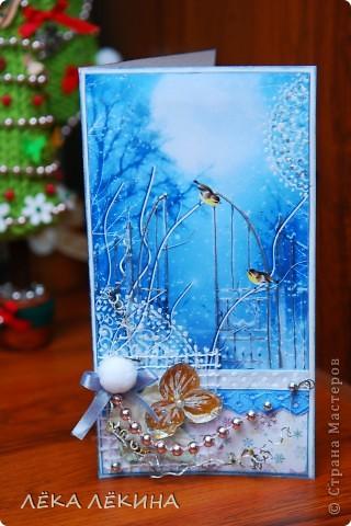Вот такая получилась открыточка. Хотелось передать ощущение морозного вечера, искристого снега... фото 1