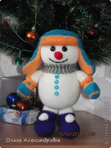 Вязание спицами Снеговик