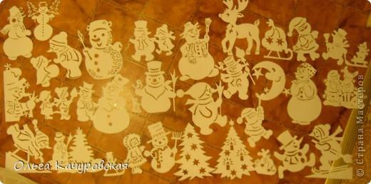 Интерьер Новый год Вырезание Снеговиков  вагон и маленькая тележка   Бумага фото 1