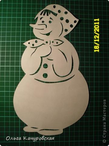 Интерьер Новый год Вырезание Снеговиков  вагон и маленькая тележка   Бумага фото 2