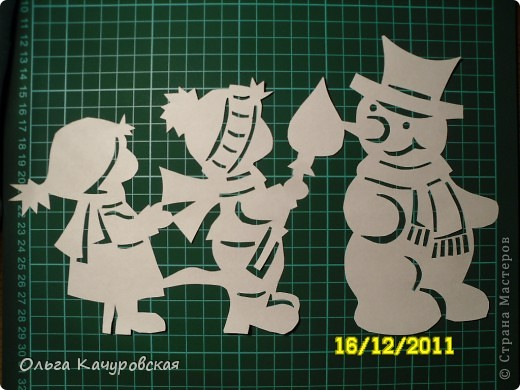 Интерьер Новый год Вырезание Снеговиков  вагон и маленькая тележка   Бумага фото 15
