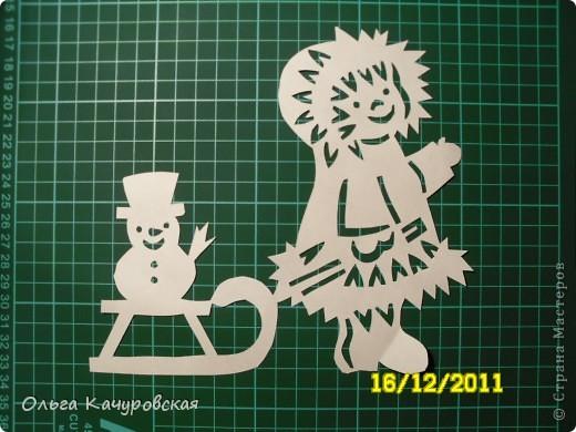 Интерьер Новый год Вырезание Снеговиков  вагон и маленькая тележка   Бумага фото 20