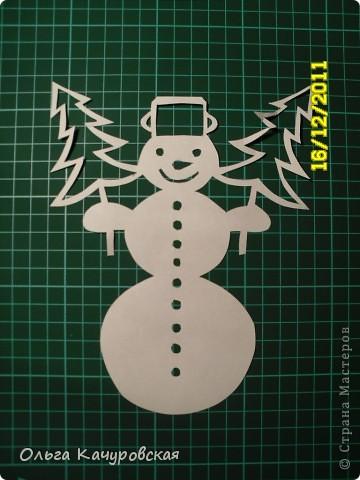 Интерьер Новый год Вырезание Снеговиков  вагон и маленькая тележка   Бумага фото 21