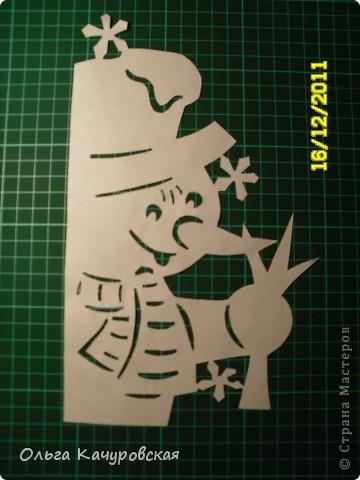 Интерьер Новый год Вырезание Снеговиков  вагон и маленькая тележка   Бумага фото 5