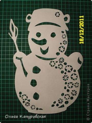 Интерьер Новый год Вырезание Снеговиков  вагон и маленькая тележка   Бумага фото 7