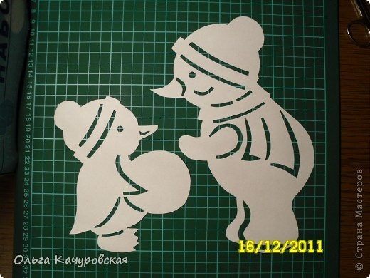 Интерьер Новый год Вырезание Снеговиков вагон и маленькая тележка Бумага фото 8.