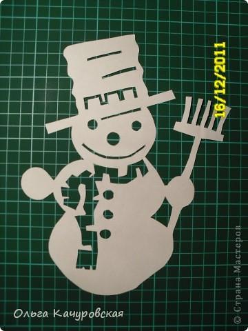 Интерьер Новый год Вырезание Снеговиков  вагон и маленькая тележка   Бумага фото 10