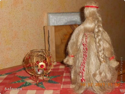 "Кукла ""Льняница"" на новогодней скатерти. фото 1"