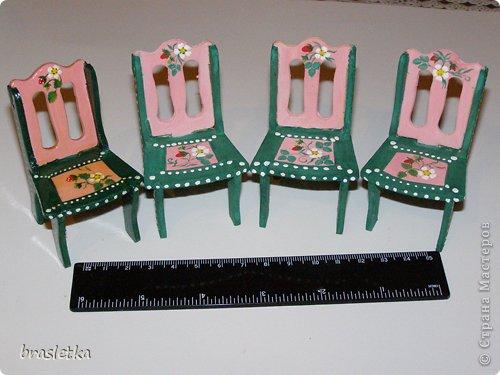 Кукольный столовый гарнитур. Роспись по дереву. Мебель для кукольного дома. фото 3