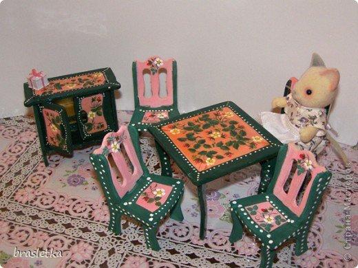 Кукольный столовый гарнитур. Роспись по дереву. Мебель для кукольного дома. фото 2