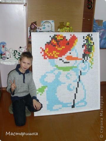 Вот такой СНЕГОВИЧОК получился у второклассников и их учительницы Юлии Викторовны! Ох, и трудно им пришлось, верите? фото 2