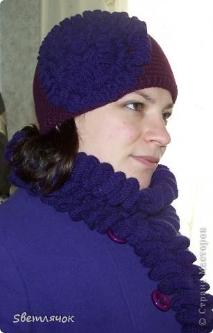 шапочка и шарф связанные в подарок на день рождения, очень понравились имениннице :) фото 1