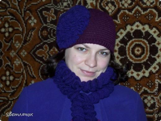 шапочка и шарф связанные в подарок на день рождения, очень понравились имениннице :) фото 2