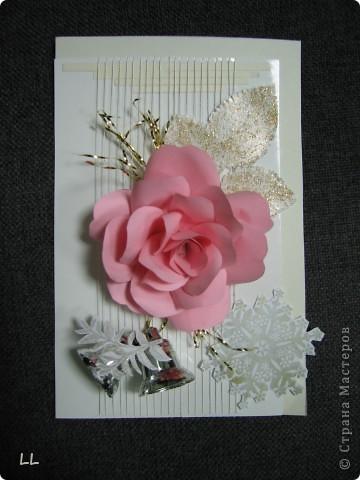 новогодняя с розой