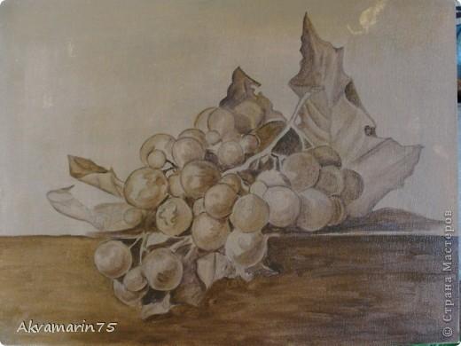 Картина панно рисунок Мастер-класс Натюрморт Рисование и живопись Claret Grapes холст масло 30х40 30 11 2011-27 12 2011 мой первый мастер-класс Краска фото 6