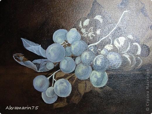 Картина панно рисунок Мастер-класс Натюрморт Рисование и живопись Claret Grapes холст масло 30х40 30 11 2011-27 12 2011 мой первый мастер-класс Краска фото 8