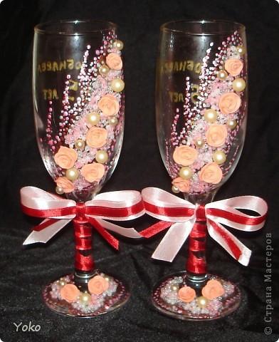 Заказали бокальчики на годовщину свадьбы 55 лет)) Бисер, бусины, розы из пластики, контуры, ленты фото 1