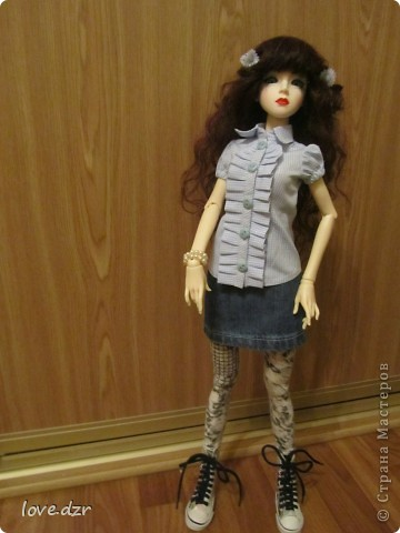блузка,юбка и легенцы для куклы. фото 1