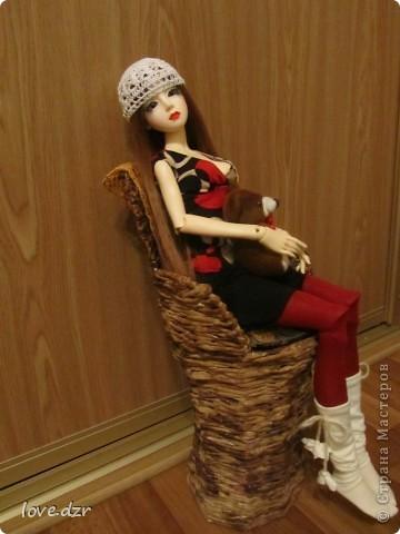 Рост куклы 65см,она шарнирная ручной работы. фото 3