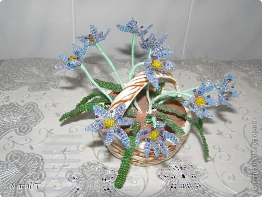 Поделка изделие Бисероплетение Цветущая вишня цветочные композиции из бисера Бисер Гипс Гуашь Нитки Проволока фото 4.