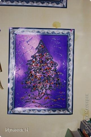 Интерьер Картина панно рисунок День рождения Новый год Аппликация Аппликации Картон Клей Крупа Пайетки фото 7.