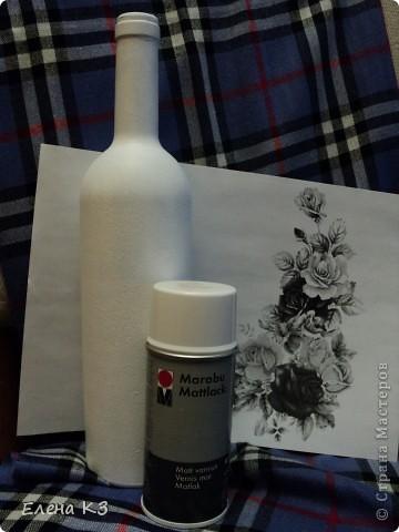 Мастер-класс Декупаж Черное и белое небольшой МК Бутылки стеклянные Краска фото 2