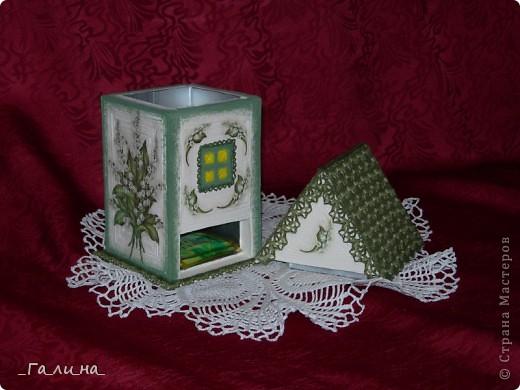 Поделка изделие Вязание крючком Декупаж Чайный набор Ландыши Бумага Картон Клей Коробки Краска Нитки Салфетки фото 4.