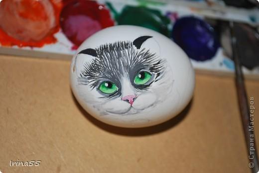 Этого кота я нарисовала под впечатлением работ Юлии Савченко. У нее коты - ОБАЛДЕННЫЕ!!! Мне тоже захотелось сделать что-нибудь приличное. Вот только камней под рукой не оказалось. Поэтому я использовала выдутое куриное яйцо. Вот такой кот у меня появился.  фото 4
