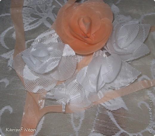 Как и в паутинке (  http://stranamasterov.ru/node/308168  ), ВЕСЬ ТЮЛЬ покрыл клеем ТИТАН. Когда всё высохло (около 4-х часов) ткань стала жесткой, и стала похожа на бумагу. ВСЁ остальное делал, как с обычной БУМАГОЙ! И получились цветочки.  фото 1