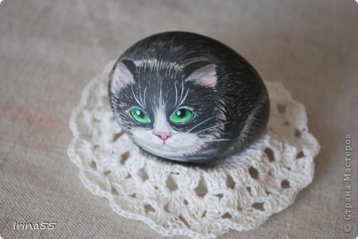 Этого кота я нарисовала под впечатлением работ Юлии Савченко. У нее коты - ОБАЛДЕННЫЕ!!! Мне тоже захотелось сделать что-нибудь приличное. Вот только камней под рукой не оказалось. Поэтому я использовала выдутое куриное яйцо. Вот такой кот у меня появился.  фото 6
