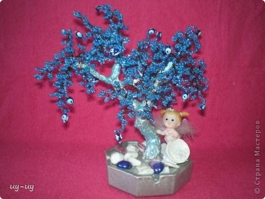 Бисероплетение - голубое дерево-1 из бисера.