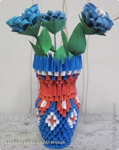 Поделки по книгам сайта 8 марта Валентинов день День матери День рождения День учителя Оригами китайское модульное Ваза Бумага фото 27