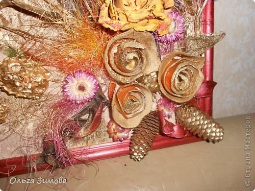 Ещё одно панно на день рождения. Его украсила  перьями фазана! Размер 30 на 40. фото 2