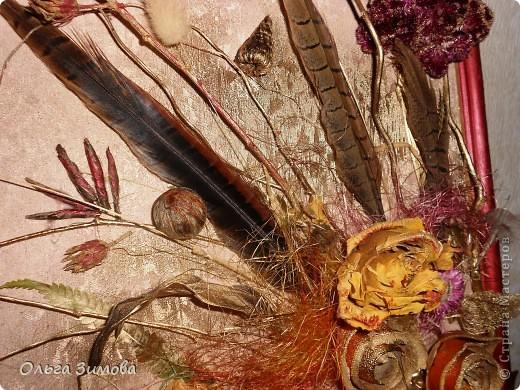 Ещё одно панно на день рождения. Его украсила  перьями фазана! Размер 30 на 40. фото 4